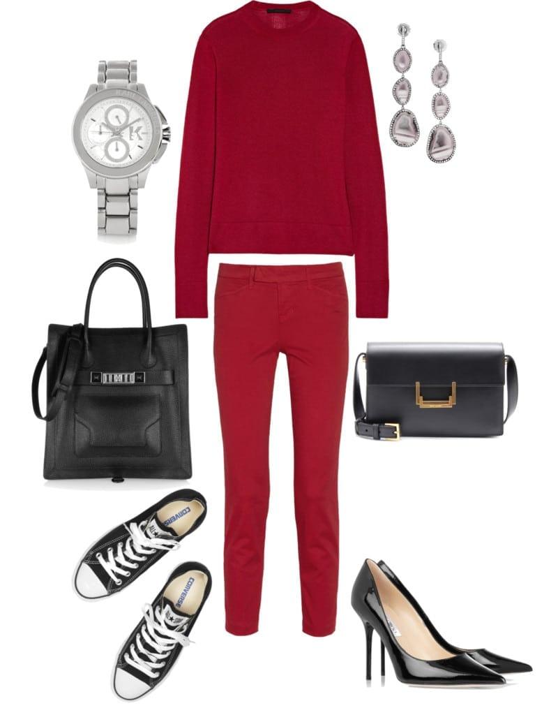 uniform sportowa elegancja czerwony sweter przez głowę i spodnie materiałowe