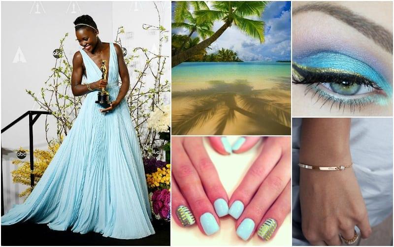 6- błękit nairobi i złoto - Evette