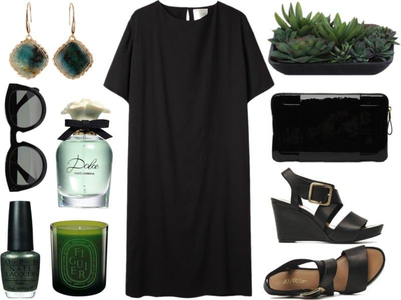 mała czarna i zielone elementy
