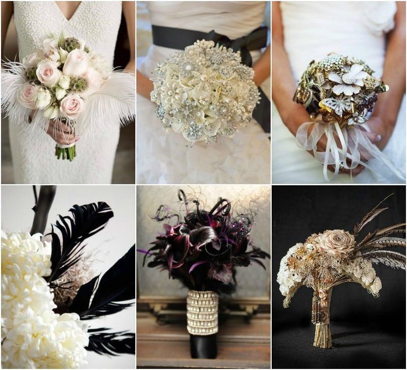 kwiaty wiązanka ślubna art deco