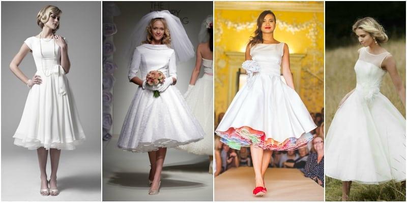 suknia ślubna do połowy łydki