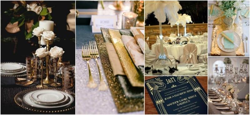 złota zastawa, stół w stylu art deco