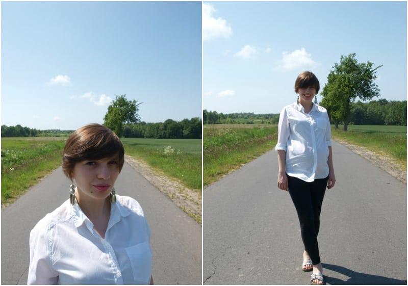 biała koszula czarne spodnie