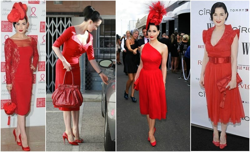 Dita Von Teese czerwona sukienka