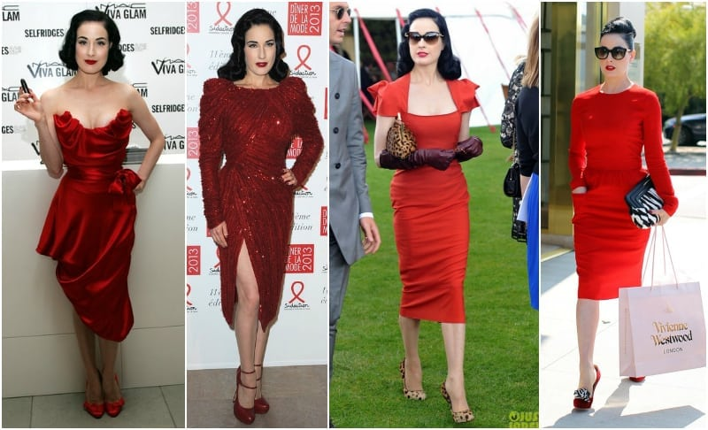 Dita von Teese red dress