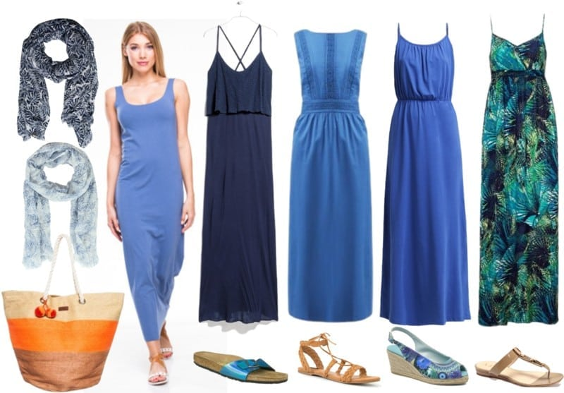 sukienki maxi niebieskie
