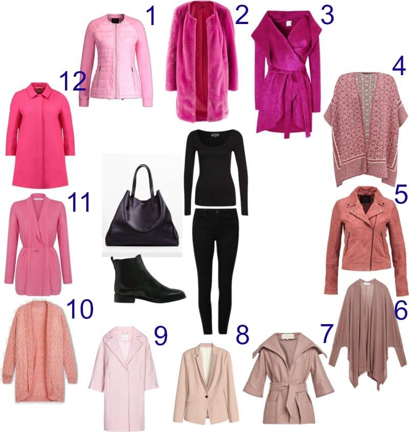 czarny i różowy moda