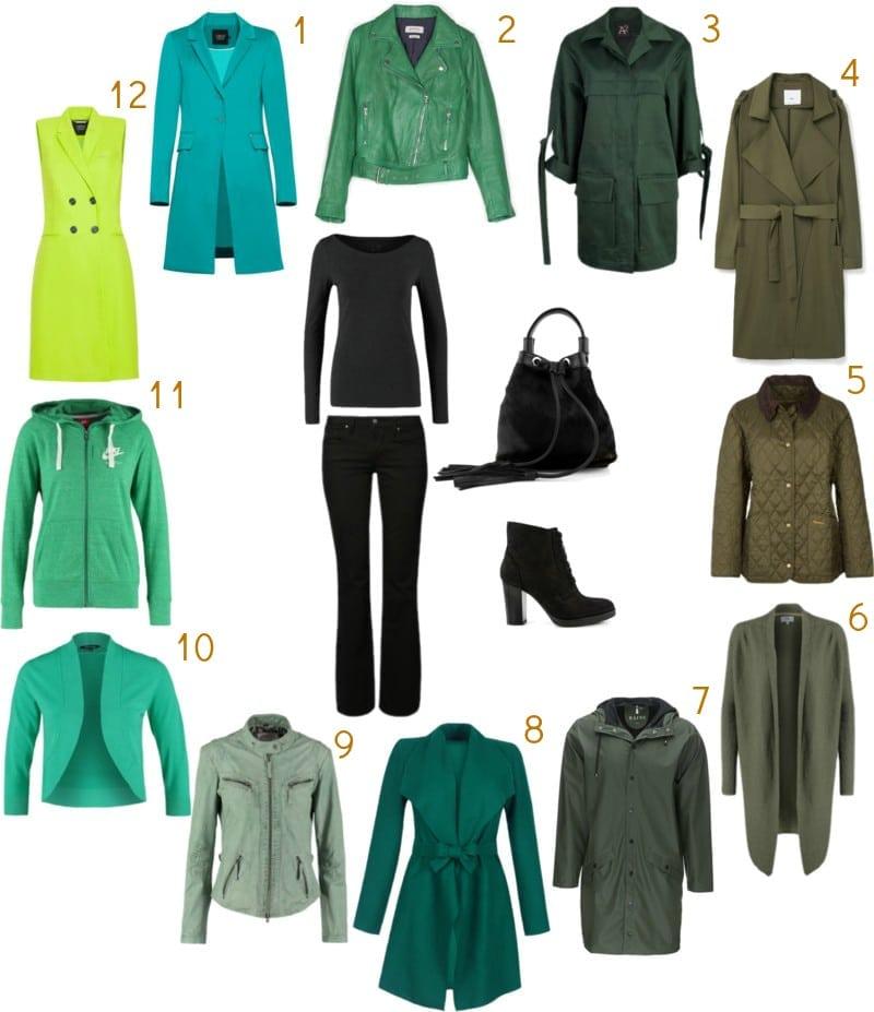 czarny uniform i zielony sweter