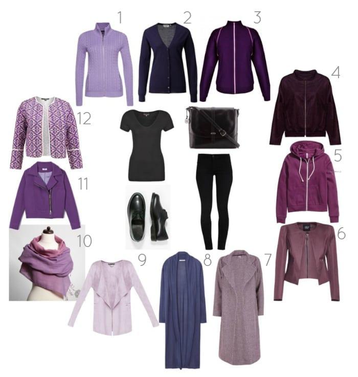 fioletowe swetry i płaszcze