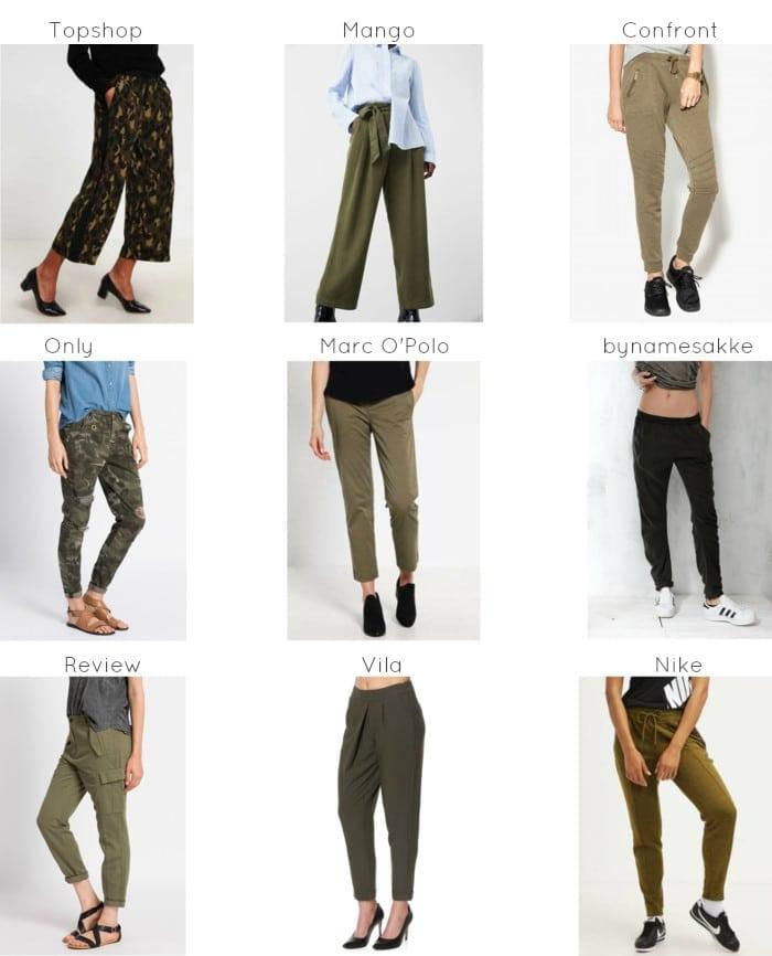 spodnie w militarnym stylu