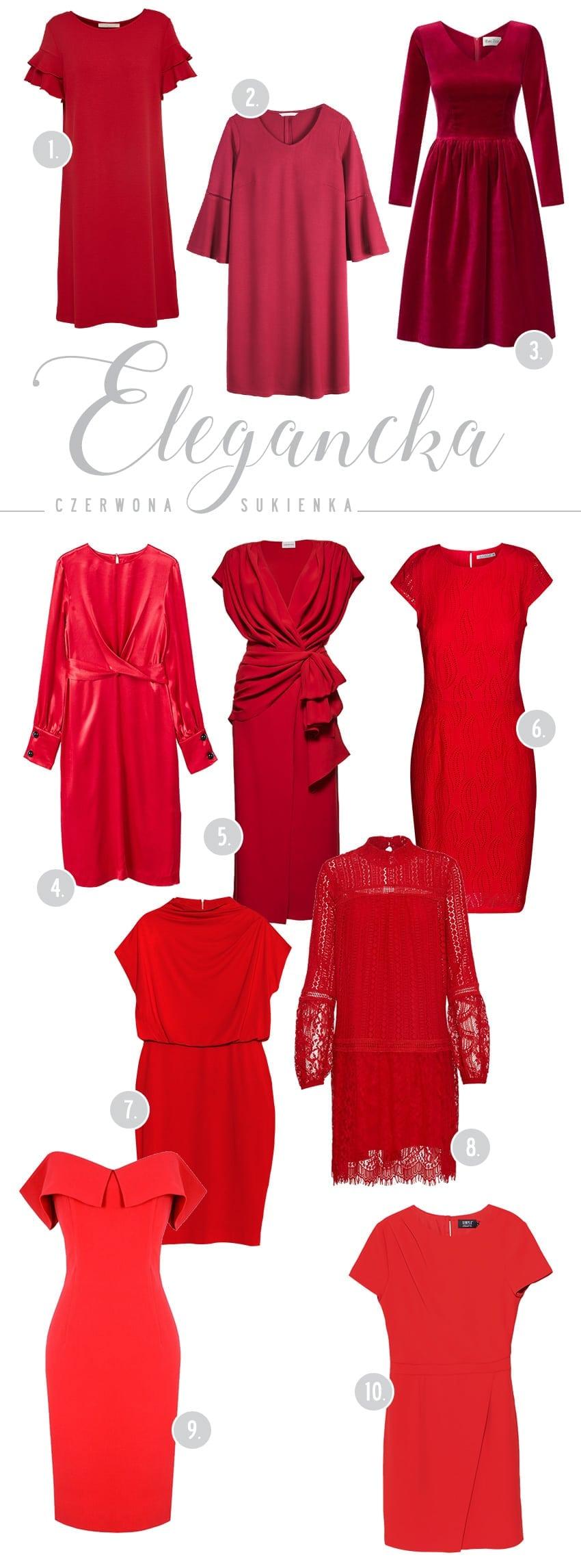 10 razy elegancka czerwona sukienka